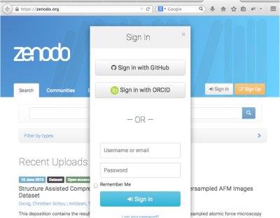Login to zenodo.org with ORCID