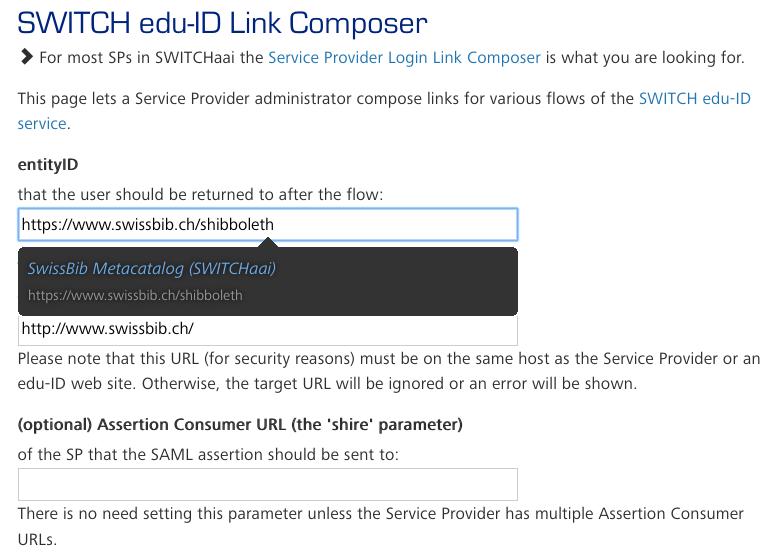 Screenshot edu-ID Login Link Composer